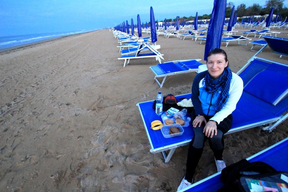 Snídaně na pláži v Caorle