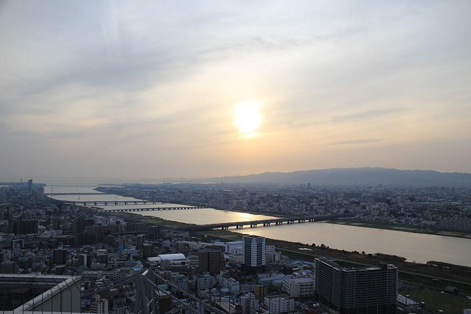Výhled na Ósaku z observatoře