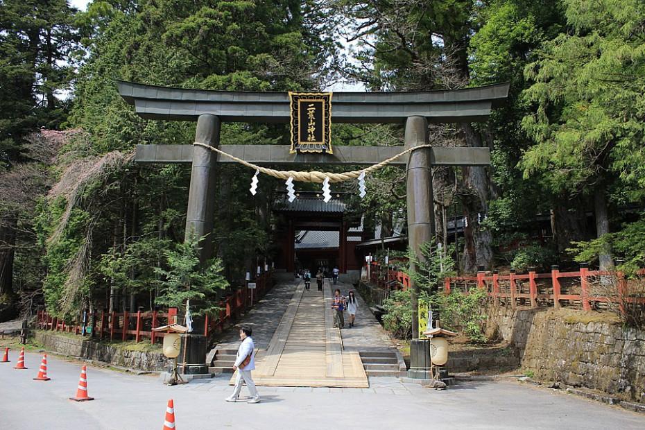 Torii značící posvátné území svatyně Futarasan