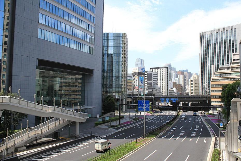 Výhled na čtvrť s kancelářskými budovami
