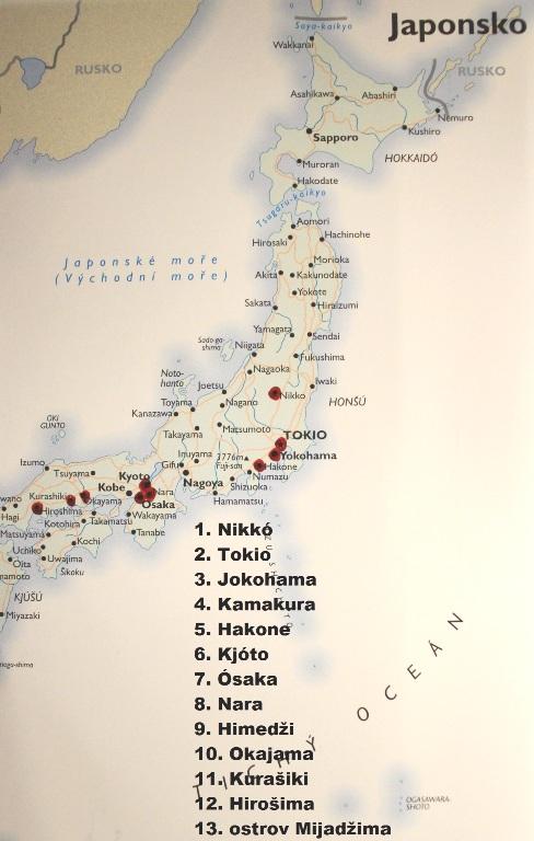 Mapa s navštívenými městy na ostrově Honšú